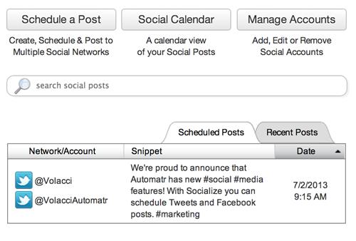 Automatr Social Integrations: Socialize | Volacci Automatr