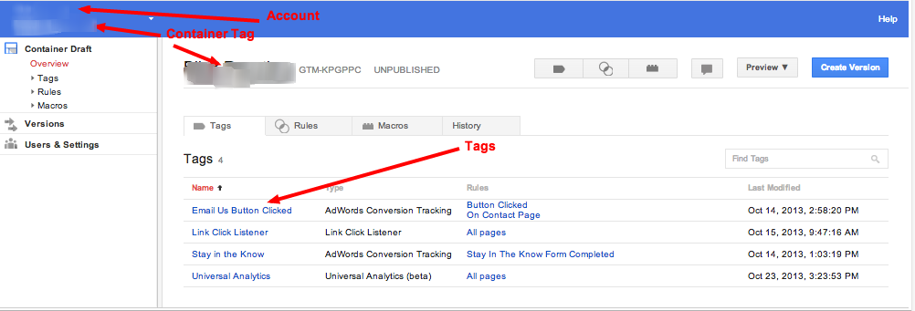 Google Tag Manager Container Tags