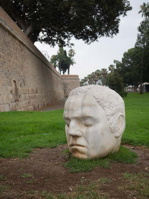 Head sculpture in Cartagena park