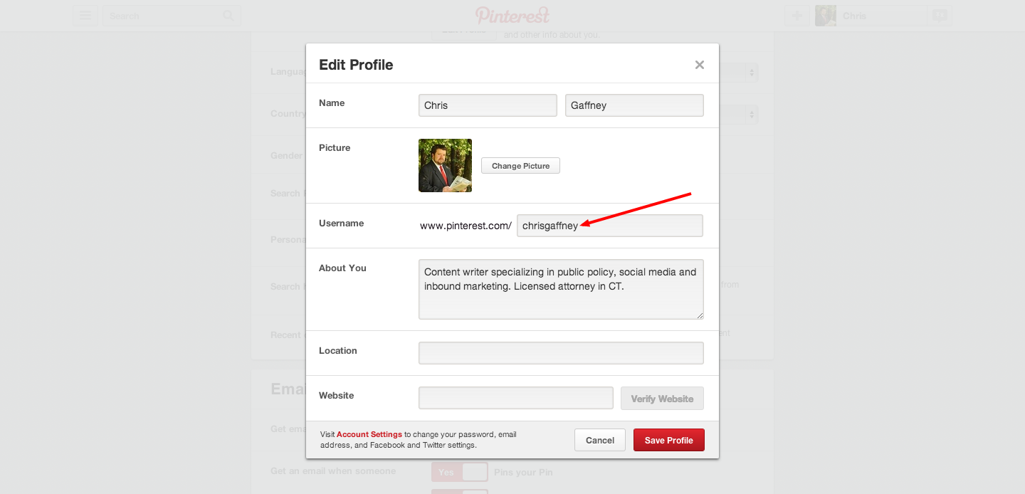 How to get a vanity URL on Pinterest