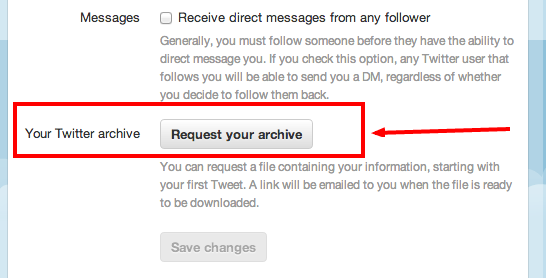 Request Twitter Archive