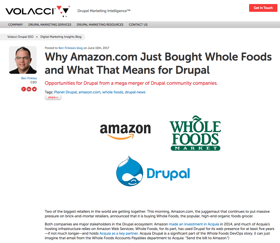 why amazon bought whole foods article on volacci.com