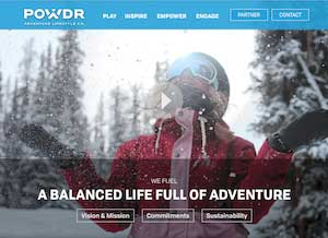 POWDR ski resorts web page