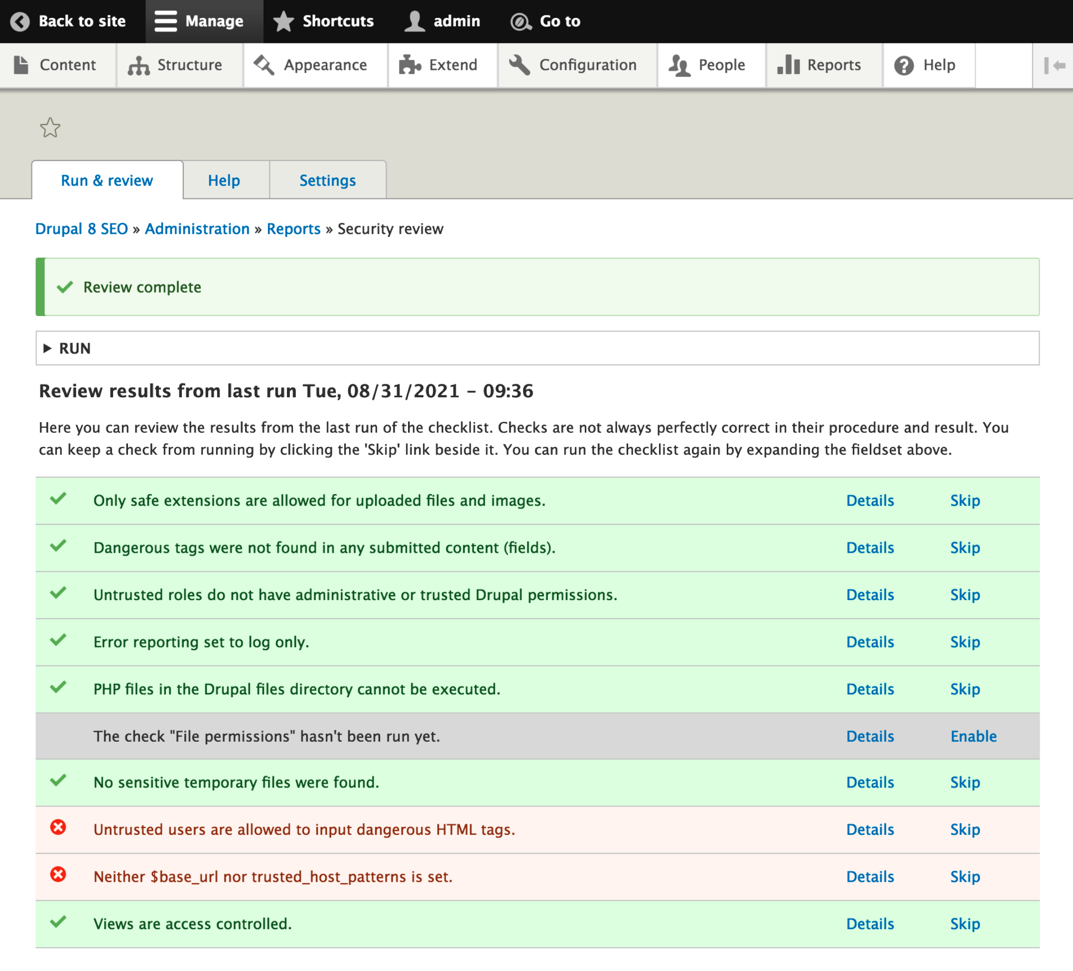 drupal security review module test results