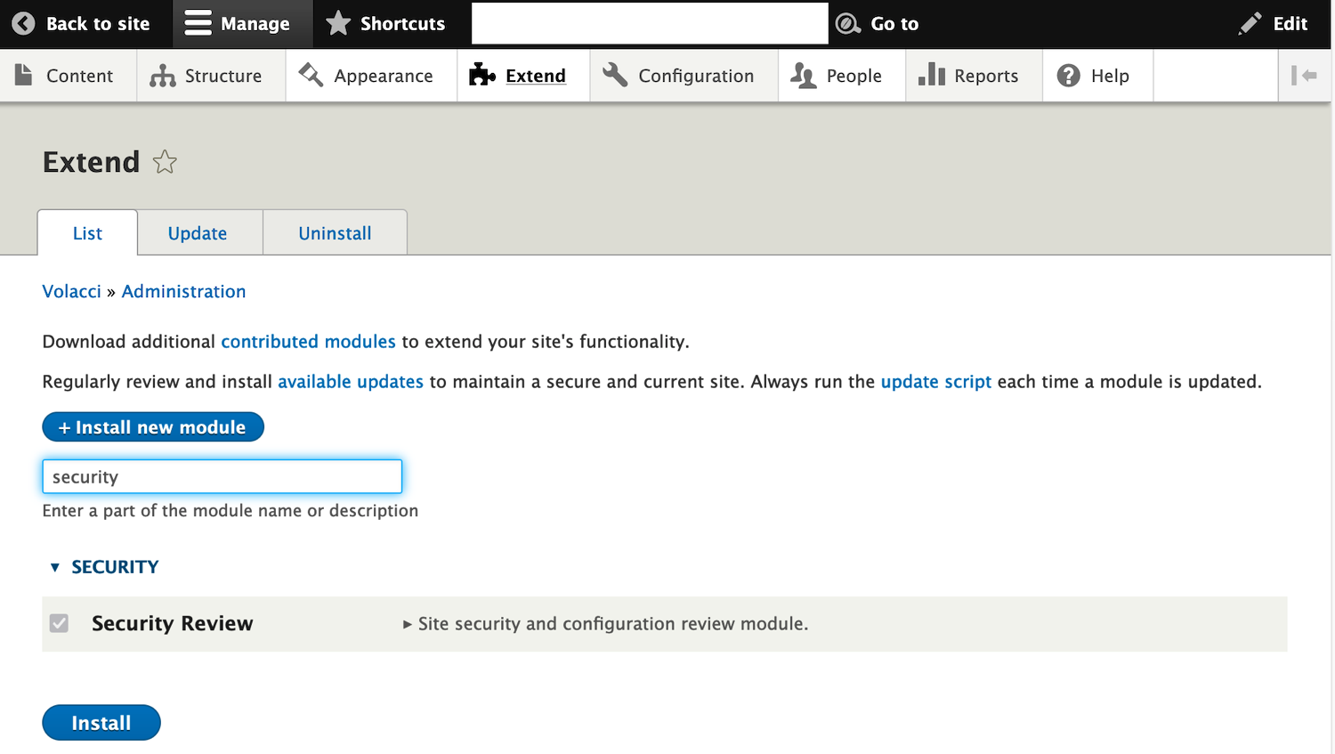 drupal security review module installation