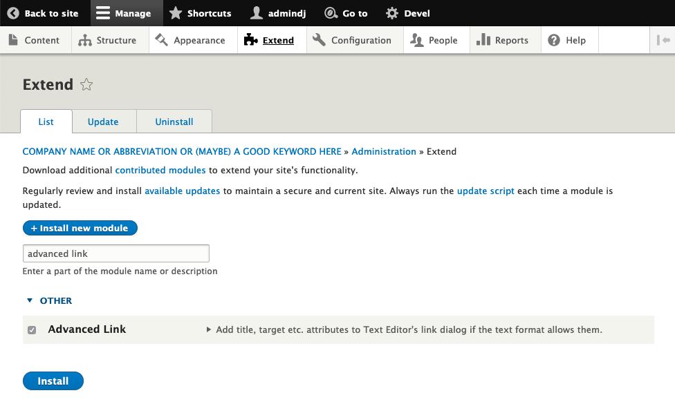 editor advanced link module installation