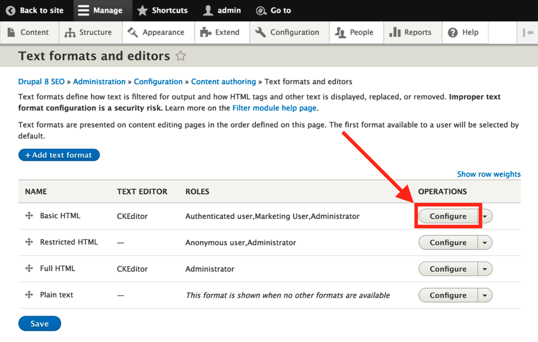 editor advanced link module configuration screen
