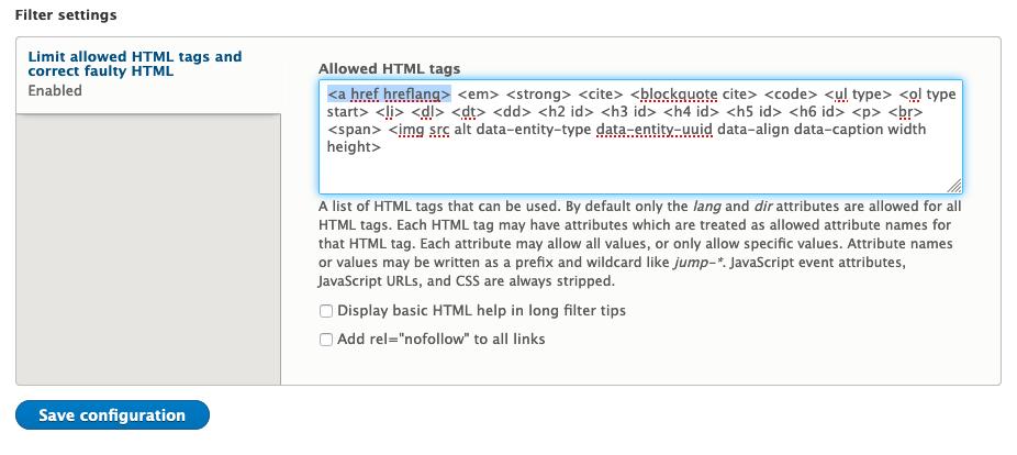 editor advanced link module allowed html tags