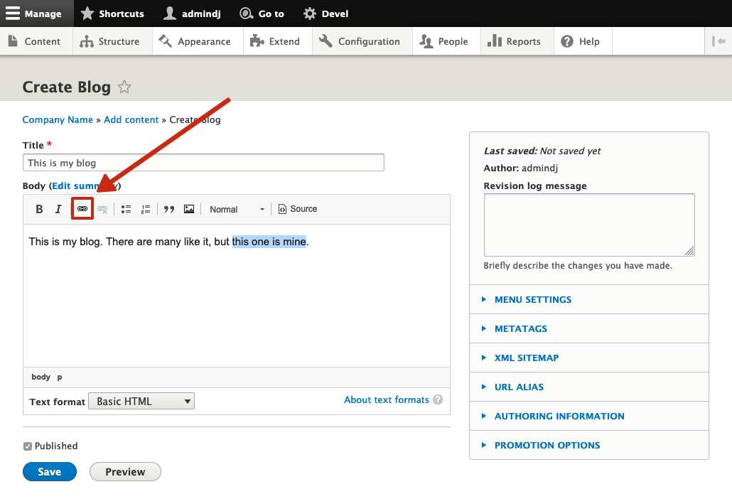 editor advanced link module in action