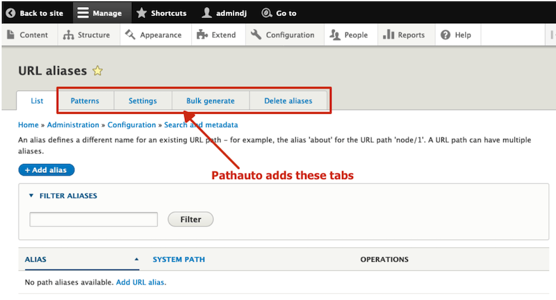 pathauto installs these tabs