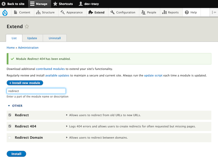 redirect module install for drupal 9