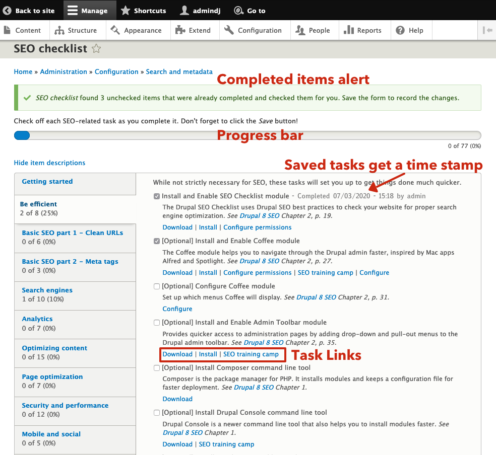 using the seo checklist within drupal screen shot